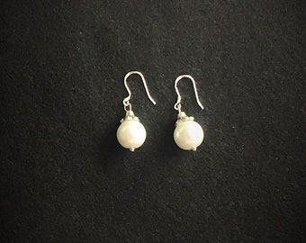 Pearl drop earrings with sterling silver hooks