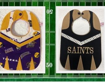 Cheerleader Baby Bibs Saints and LSU