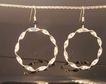 70% OFF Going Out of Business Sale.. Last One...Large Hoop Twist Sterling Silver Earrings