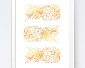 3 Gold Pineapples, Gold Pineapple Print, Home Decor Pineapple, California Gold Summer Printable, San Francisco Kitchen, INSTANT DOWNLOAD