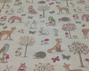 Woodland Animals Cream Craft/Furnishing Fabric Sold By The Metre