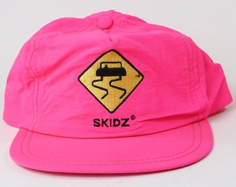 Vintage 1980's Skidz Neon Pink Strap Back Adjustable Hat Cap