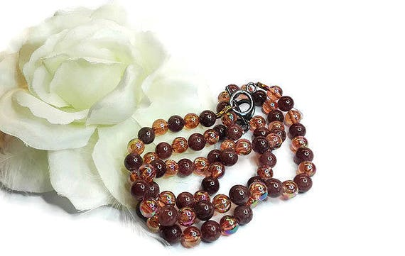 Brown Agate gemstone necklace and bracelet for woman