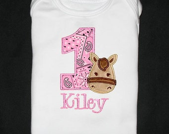 Custom Personalized Applique Birthday Number with Minky HORSE and NAME Bodysuit or Shirt - Pink Bandana, Tan, and Brown