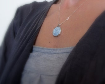 Ceramic heart necklace, Light blue heart necklace,  Heart pendant in sterling silver necklace