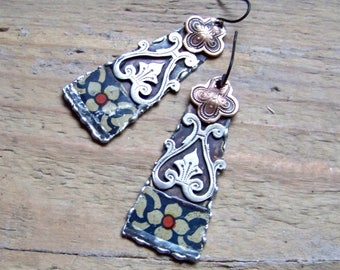 Recycled  tin earrings    *1