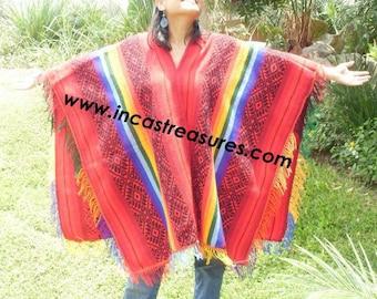 Andean Poncho Hualhua qusqu Rainbow
