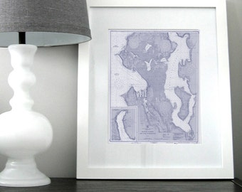 Seattle and Lake Washington Nautical Chart Map 1948 Blue DIGITAL PRINT 16 x 20, Map Art Prints, Printable Art, Chart Maps, Beach Decor