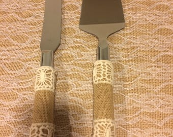 Wedding cake serving knife set, country chic, rustic burlap and lace