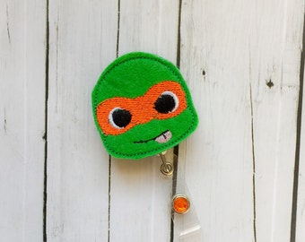 Michelangelo Orange Ninja Turtle Inspired - Name Badge Holder Felt Badge Reel - Unique Retractable ID Badge Holder - Lanyard - Professional