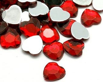 LOT 50 large hearts 25 mm rhinestone - color red with facets - love - wedding scrapbooking embellishment - holiday - flat stick back