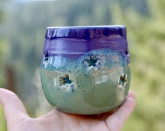 Stoneware Luminary Lantern with Stars in Green, Blue and Purple Glazes