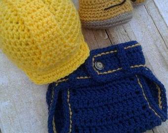 Baby Crochet Construction Hat and diaper cover and shoes phorography props