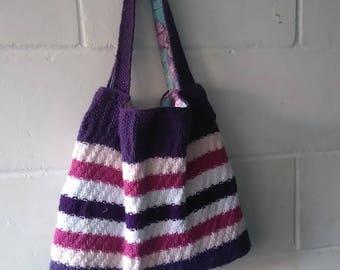 Pink and Purple Bag, Hand Knitted tote bag, Handbag