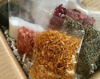 DIY Bath Salts | Blend Your Own Bath Salts Kit | Self Care Kit | Spa Gift Box | Pamper Kit | Beauty Box | Spa Set | Zero Waste Beauty