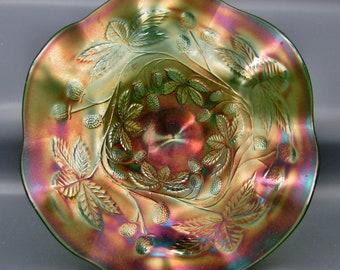 Fenton Green Carnival Glass BLACKBERRY BRAMBLE Ruffled Compote