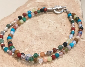 Multicolored bracelet, gemstone bracelet, natural bracelet, boho style bracelet, sterling silver bracelet, Hill Tribe silver bracelet
