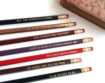Shakespeare Pencil Set — 7 Engraved Pencils, Be True, To be or not to be, All the World's a Stage, William Shakespeare