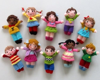 10 CUTE LITTLE KIDS - toy doll knitting pattern - Dolls house size - pdf instant download - Dollytime knitted doll