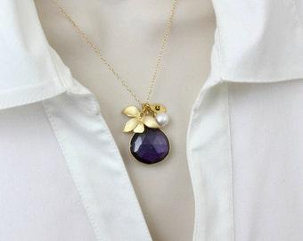 Gemstone Necklace, Amethyst Necklace, Flower Necklace, Initial Necklace, Gold Necklace, February Birthstone jewelry, Ruby, Emerald, Sapphire