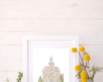 Logan, Utah LDS Temple Water Color Painting Print DIGITAL DOWNLOAD
