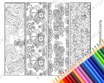STEAMPUNK // Printable Coloring Pages // Bookmarks //  - Adult Coloring Pages // Adult Coloring BooksUnique coloring page