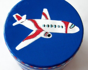 Hand Painted Love Boxes Airplane Box Blue
