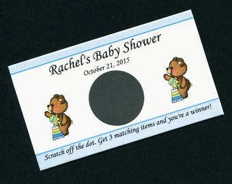 Baby Boy Personalized Scratch Off Cards Baby Shower, teddy bear with stack toy and rattle, set of 25