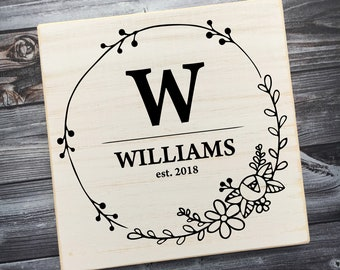 Floral Circle Family Sign | Family Name Sign | Established Sign | Custom Family Name | Last Name Sign | Monogram Sign | Style# FA55