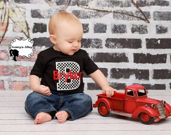 Red & Checkered Print Personalized Name - Boys Applique Black Shirt or Bodysuit