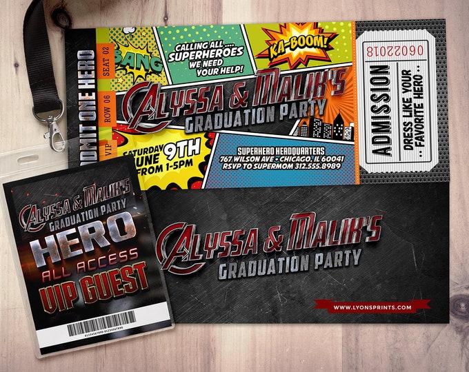 Graduation party, Super Hero party invitation, boy birthday invitations / Theme park, super hero birthday, comic ticket, Digital files