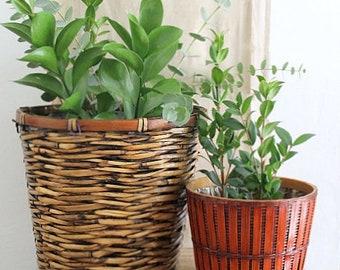 Vintage Woven Textured Basket Planter