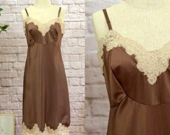 Chocolate Brown Slip With Lace Detail