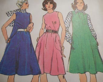Vintage 1970's Simplicity 6205 Dress or Jumper, Blouse and Scarf Sewing Pattern Size 12 Bust 34