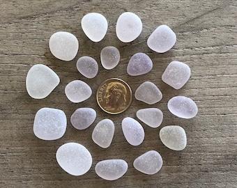 NEW LISTING - 21 Genuine Beach Sea Glass -Frosty, Primo Lavender Sea Glass Gems - A98