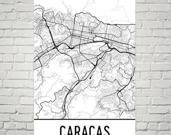Caracas map Etsy
