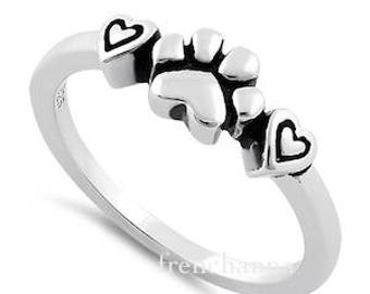 Sterling dog paw print Ring unique paw print and heart Sterling Silver Ring