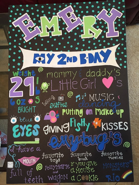 Items Similar To Happy 2nd Birthday Chalkboard Sign On Etsy