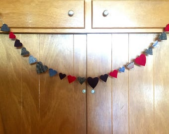 Heart Garland - Upcycled Wool