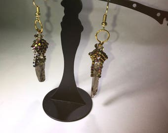 Handmade, rutilated quartz, delica beaded, goldplated earwires, shimmering beads, pierced earrings, one of a kind.