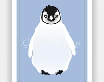 Cute Penguin Art Print (choose your own colors)