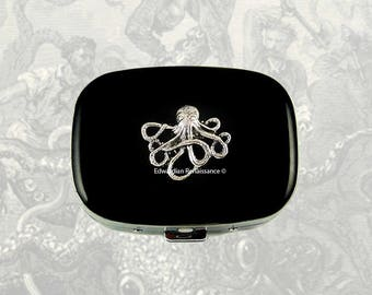 Octopus Oval Pill Box Inlaid in Hand Painted Black Enamel Nautical Inspired Personalized and Color Options Available