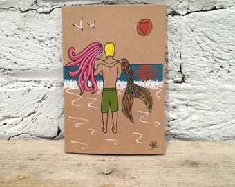 Mermaid surfer surf art valentines card love couple embrace sea beach theme mythical surfing anniversary