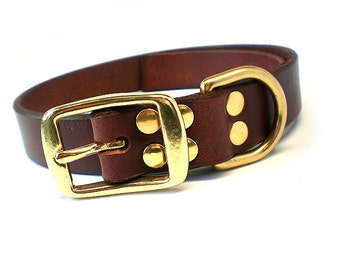 """1"""" Rich Brown Chahin English Bridle Leather Dog Collar w/ Solid Brass Hardware and Square Buckle"""