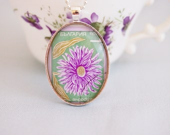 postage stamp flower necklace, Bulgaria vintage postage stamp, purple flower pendant