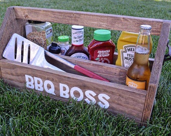 BBQ Grilling Caddy with Bottle Opener | Wood Beer Carrier | Wood Wine Caddy | Rustic Beer Caddy | Groomsman Gift | Rustic Barbecue Caddy