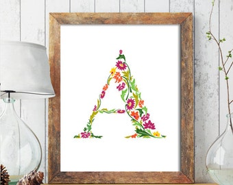 Floral Monogram Nursery Letter Art, Nursery Monogram Name Print, Personalized Baby Wall Art, Floral Monogram Printable, Nursery Printable222