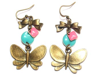 Boucles d'oreilles papillons sequins roses et turquoises