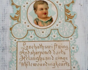 Antique Valentines Day Card, Victorian Cupid Blue White Gold Vintage Valentine, Unused No Writing, Lovers Valentine Or Engagement Card