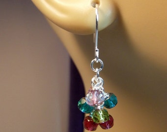 Crystal Cluster Earrings, Valentines Mothers Day Christmas Gift, Mom Sister Aunt Mother Jewelry Gift, Blue Red Green Short Simple Earrings